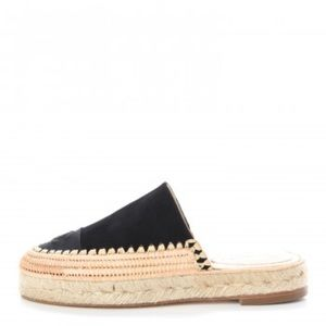Chanel 2018 Espadrille Mules Black Suede Rope 28